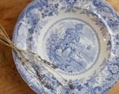 Antique Blue Transferware Pottery Bowl - 1800s - England Stoke on Trent - Italian Buildings - Cottage Decor