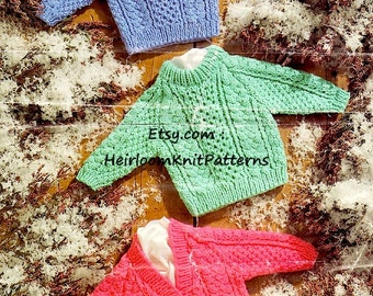 Chunky Cable Sweater Cardigan Knitting Pattern 16-26'' Baby Toddler Child Boy Girl Chunky 12ply Bulky Pattern Instant download PDF - 394