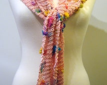 Hand knit pink scarf, skinny pink scarf, multicolor knit scarf, summer knit scarf, light cotton scarf with beads