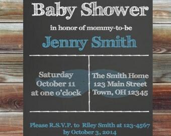 Custom Chalkboard Baby Boy Shower Invitation - Baby Boy Shower Invitation - Chalkboard Mustache Baby Shower Invite - Mustache Baby Shower