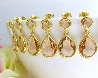 Peach Champagne Drop Dangle Earrings Champagne Stud Earrings Gold Earrings Wedding Jewelry Bridesmaids Gift Gift for Her (E059)
