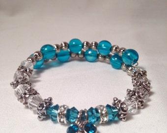 December birthstone bracelet, blue zircon birthstone bracelet, December bracelet, Blue Zircon bracelet, Swarovski crystal bracelet