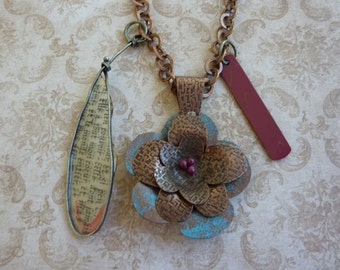 """Industrial Chic Found Objects Necklace: Copper & Blue Flower with Movable Petals+Red Beads, Etched Bar+Wire Pendant,French Writing 30"""" Chain"""