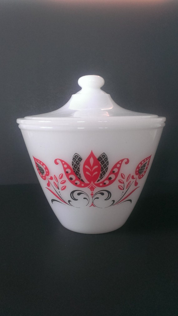 Fire King Modern Tulip Grease Jar Bowl With By