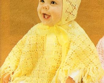 Baby Crochet Pattern Baby Crochet Poncho Baby Crochet Hat Crochet Ponchos Pattern Baby Poncho Pattern 3 Ply Poncho &Hat PDF Instant download
