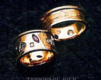Unique WEDDING BAND SET Platinum Wedding Band with Gemstones Diamonds, Etruscan Wedding Rings, Conflict-Free Diamonds Bespoke Wedding Bands