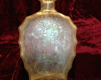 Weathered glass whiskey bottle decanter Old Charter Kentucky straight bourbon oak tree design Anchor Hocking 1951 vintage