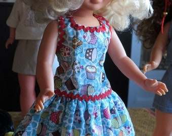 """Dress with print cupcakes for Nancy doll's famous or similar """"blue di mare"""". Also fits perfect to the BFC doll"""