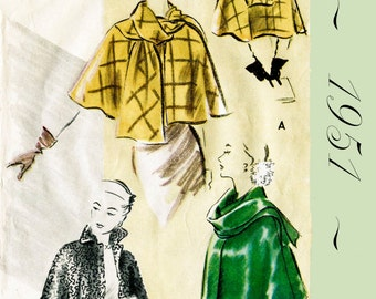 1950s 50s Vintage Sewing Pattern Cape Shawl Evening or Day style no. 8645 Bust 36 B36