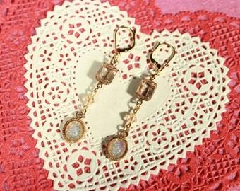 Long Faux Opal and Vintage Crystal Earrings