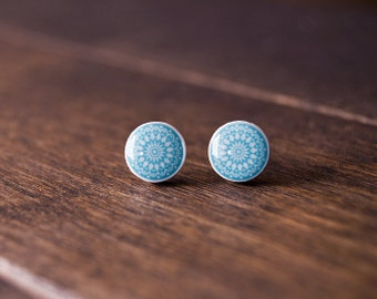 Mandala earrings - blue earrings - zen stud earrings - minimalist stud earrings
