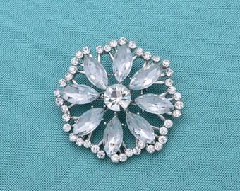 Rhinestone Wedding Brooch Rhinestone Crystal  Brooch Crystal Silver Brooch Wedding Accessories