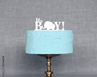Elephant Cake Topper - It's a BOY for Baby Shower by Acrylic Art Design