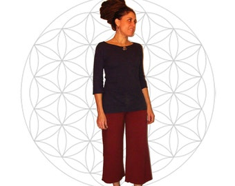 Organic Festival pants - Made to order - Organic cotton and soy blend capri style yoga pants - Handmade and dyed