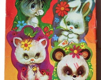 Kitschy Cute Animal Jigsaws - Vintage 1970s Kids Puzzles with Big-Eyed Animals