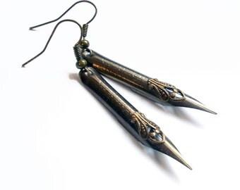 Dear Sir - Vintage Pen Nib Earrings - Fancy filigree on Steel Earrings Jewelry