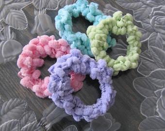 4 Hair Scrunchies, Crochet Hair Scrunchies, Set of 4 Ponytail Holders, Lavender, Pink, Aqua, Spring Green Hair Bands, Girls Hair Accessories