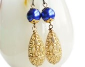 Frosted Gold Earrings Vintage Matte Lucite Drops Carved Bead Glamorous Ornate Dangles Gold Purple Statement Jewelry