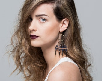 Lace earrings - Array - Indigo lace with copper chain and bronze and silver findings
