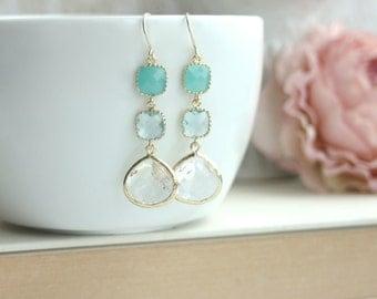Mint Green Opal, Aquamarine Blue, Light Blue, Gold Framed, Clear Glass Dangle Earring, Wedding Bridal Bridesmaids Gift, Mint Blue Wedding