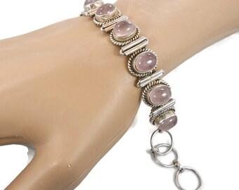 Rose Quartz, Vintage Bracelet, Sterling Silver, Link Bracelet, Pink Bracelet, Boho Bracelet, Pink Stone, Vintage Jewelry, Shabby Chic
