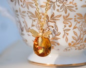Bee Necklace Honey Amber Crystal Honey Bee Autumn Topaz Rhinestone Honeybee Vintage Bohemian Nature Spring