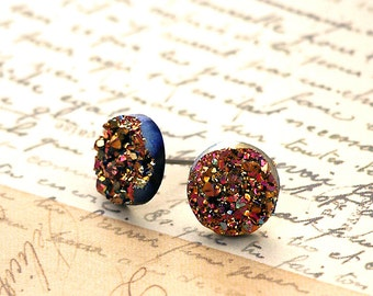 Glitter Stud Titanium Post Earrings, Faux Druzy Posts, Magenta and Gold Glitter on Black, 10mm
