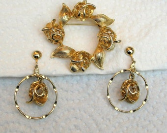 Sarah Coventry Brooch Earrings Set Golden Tulip 1974 Vintage 70s Costume Jewelry