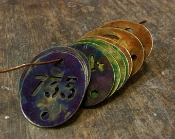 Antique Brass TAG Oval Stencil FRENCH Patina, Purple, Green, Orange