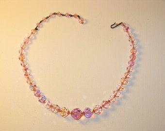 Vintage Laguna Pink Swarovski Crystal Choker Necklace (N-2-4)