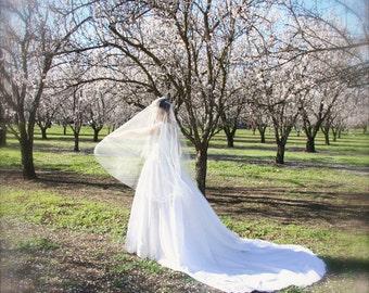 Long Drop Veil Bridal Veil blusher oval No Gather Mantilla Cathedral Veil silk white, ivory, champagne cut edge bridal illusion tulle veil