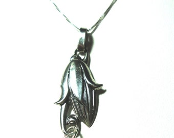 """Moonstone Dewdrop Pendant From Solid Sterling Flower Pendant on Solid Sterling 18"""" Box Chain"""