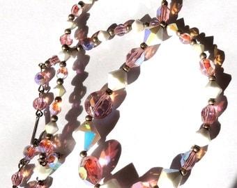 Crystal Vintage Necklace Aurora Borealis Pink White Vintage Jewelry