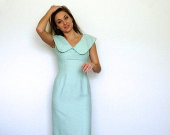 50s Baby Blue Lilli Ann Oversized Peter Pan Collar Nubby Midi Dress xs s
