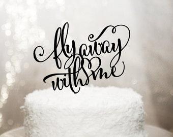 Travel Themed Wedding Cake Topper - Fly Away Elegant Romantic Floating Topper - Glitter Wedding and Engagement Cake (Item - FLY001)