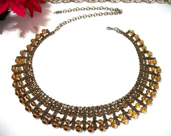Sweet Honey Amber Bronze Beaded Collar Necklace Beadwork Jewelry for Women FUN Gift ideas for her