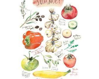 Summer vegetable print, Home decor, Seasonal vegetable, 8X10 print, Colorful kitchen wall art, Botanical watercolor painting, Food poster