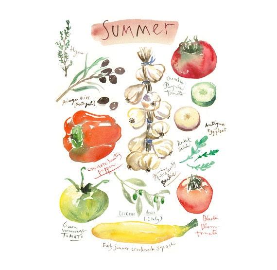 Kitchen Wall Decor Vegetables : Kitchen art summer vegetable print decor by