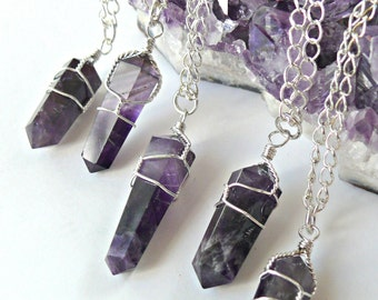 Amethyst Crystal Necklace - Amethyst Crystal Point Necklace - Silver Wire Wrapped Pendant - Mineral Necklace