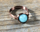 custom sizes available  - Amazonite blue gemstone Ring - stone antique copper wire wrapped - metaphysical - accessories - men women unisex