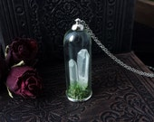 Crystal Terrarium Necklace // Natural History Specimen Jar Necklace // Quartz Crystals and Dried Moss // Natural Jewelry