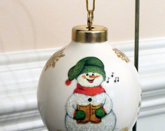 Snowman Caroler Ornament, Porcelain Ball, Snowflakes