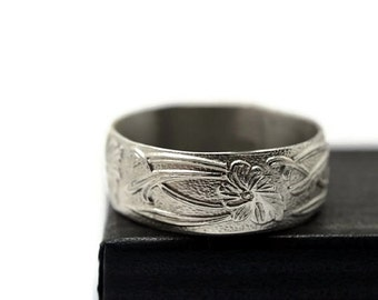 Art Nouveau Wedding Band, Engravable Jewelry, Men's Bright Silver Wide Ring, Custom Engraving