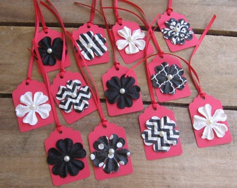 Red and Black Gift Tags, Modern Floral Gift Tags, Set of TWELVE, Wedding Birthday Anyday Gift Tags, Modern Gift Tags SnowNoseCrafts