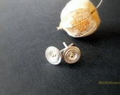 Silver domed disc Ear studs with 18ct Gold Centre - Handmade