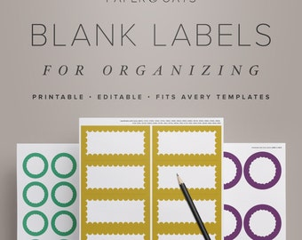 Printable Blank Labels for Organizing, Editable Kitchen Pantry Labels, Generic Labels PDF for Home & Office  //  Household PDF Printables