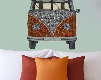 Volkswagen Bus Art Wall Sticker Decal – The Van by Valentina Harper