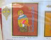 Vintage Embroidery Kit - Aquarius - Zodiac Sign - 1960's - Retro Crewel Stitchery Kit - Mid Century