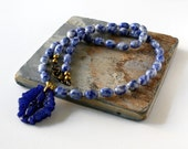 Blue Bead Necklace, Sodalite Necklace, Gemstone Jewelry, Blue Jade Necklace, Blue Jade Pendant, Potato Bead Necklace, Royal Blue Necklace