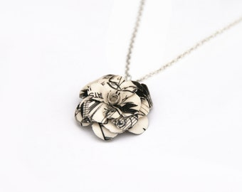 Manga Flower Necklace - 1 inch flower made from the pages of a manga, threaded on a 16 inch chain